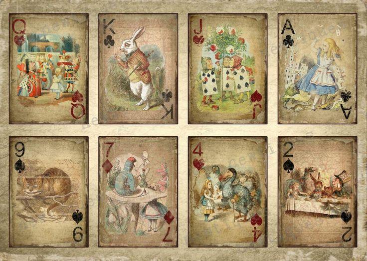 alice in wonderland free printables | ALICE IN WONDERLAND CARDS A4 PRINT / POSTER, VINTAGE, SHABBY, GRUNGE ...