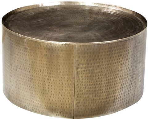 Dovetail Furniture Hammered Steel Drum Coffee Table Al325