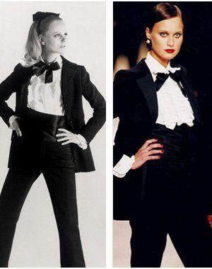 le premier smoking pour femmes présenté lors du défilé haute couture 1966/1967 - Saint  Laurent - Défilé rétrospectif 2002