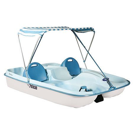 Pelican Rainbow Deluxe Pedal Boat-432304. The addition of a 2-branch canopy lets you enjoy the day on the water longer.