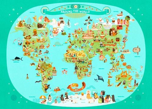 TO FRAME:  Around the World Map, by Julie Mercier