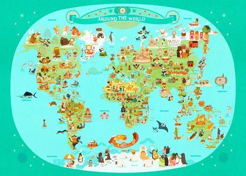 world map for kids Julie Mercier L'affiche Modern