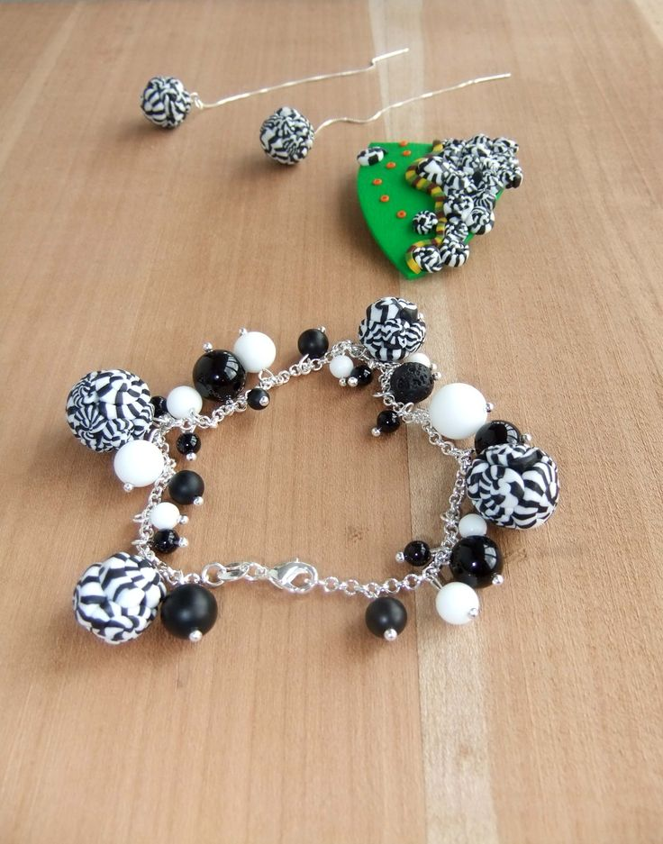 Black &White Polymer Clay Sterling Silver Earrings bracelet and pin.