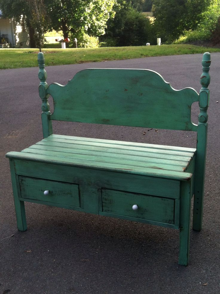 Repurposed Bed Bench Bench With Drawers Old Benches