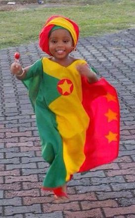 African fashion. Little Miss Grenada. Wearing an African styled outfit inspired by the Grenadian flag!