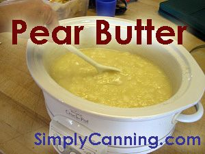 Easy Crock Pot Pear Butter recipe. A bit of orange and nutmeg in this makes it delicious. www.SimplyCanning.com