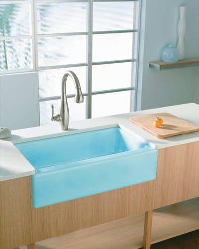 66 best pops of color images on pinterest for Coloured kitchen sinks