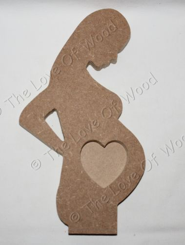 Free standing PREGNANT LADY craft shape MDF 18mm thick photo frame with heart