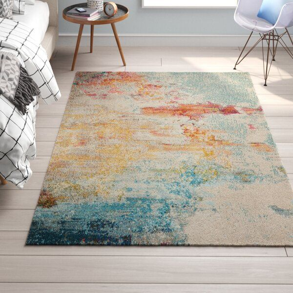 Talmo Abstract Blue Yellow White Orange Area Rug In 2020 With