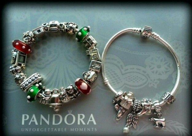 Gioielli Pandora Charms In Argento E Vetro Rosso Verde