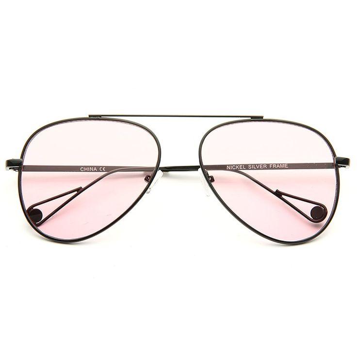 Cheap Aviator Sunglasses   Brock Light Tint Metal Flat Lens Aviator Sunglasses   BleuDame.com
