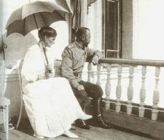 The last known photograph of Nicholas and Alexandra, taken at the Governor's House in Tobolsk, late summer 1917.