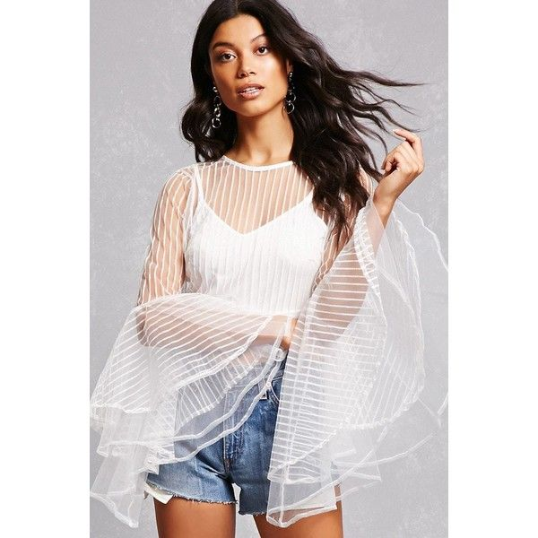 Forever21 Sheer Striped Twofer Top ($35) ❤ liked on Polyvore featuring tops, white, white sheer top, sheer crop top, striped crop top, long cami tops and cami crop top