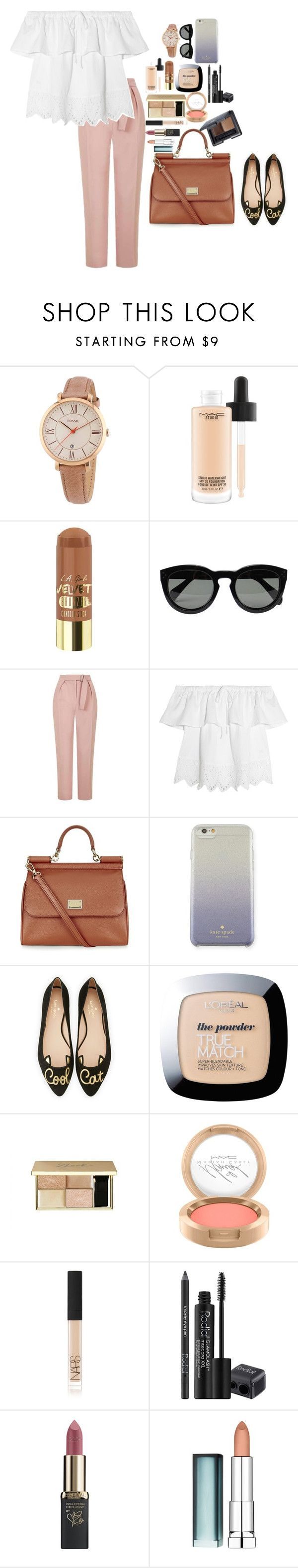 """Untitled #3220"" by veronicaptr ❤ liked on Polyvore featuring FOSSIL, MAC Cosmetics, CÉLINE, Topshop, Madewell, Dolce&Gabbana, Kate Spade, L'Oréal Paris, NARS Cosmetics and Rodial"