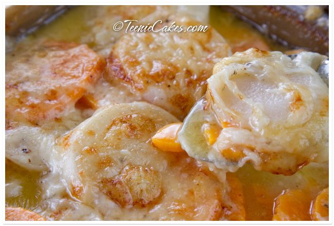 turnip and sweet potato gratin with gruyere