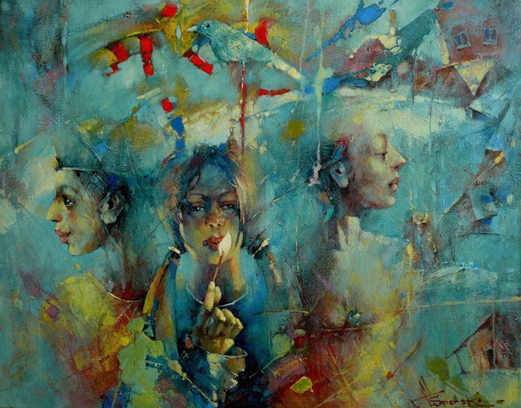 """Waclaw Sporski """"Faith, Hope, Love"""" 80х100 Oil On Canvas sporskiart.com"""