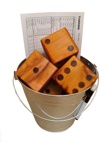 """""""Yardzee/Yardkle"""" - by Browns Bank USA - Indoor/Outdoor Giant Dice for Yahtzee or Farkle Play.  Six Large Wooden Dice, high quality, perfect for the beach, BBQs, parties, and more."""
