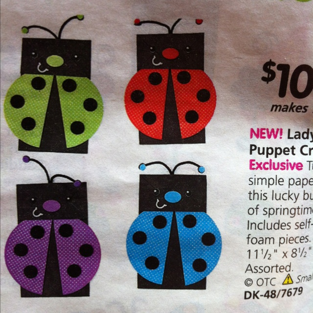 Paper Bag Craft Ideas For Kids Part - 24: Ladybug Paper Bag Puppets Craft Idea From Oriental Trading.