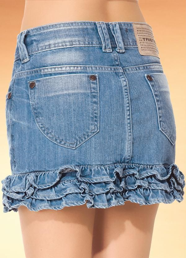 Saia Jeans com Babados na Barra -
