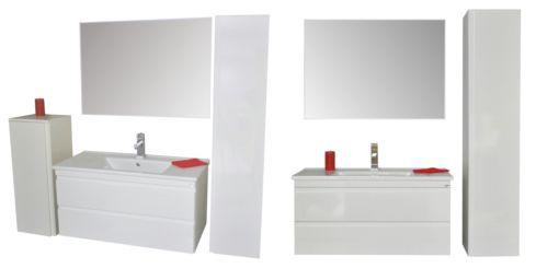 """Sanicare badmeubel Q7 - 100 cm. hoogglans wit  Dit luxe badkamermeubel heeft twee soft-close zelfsluitende """"greeploze"""" Blum lades  De greeploze lades geven het meubel een strak en stijlvolle uitstraling.   Het meubel is voorzien van een mooi vormgegeven keramische wastafel en   te combineren met diverse kolomkasten, spiegelkasten, spiegel, etc.   Verkrijgbaar in de kleuren hoogglans wit, antraciet, schots-eiken   en truffel en in de afmetingen 65, 75, 85 en 100 cm.."""