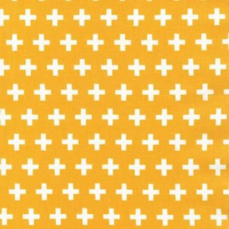 Remix Summer Plus Signs cotton fabric - Anne Kelle for Robert Kaufman - geometric print, modern blender, yellow