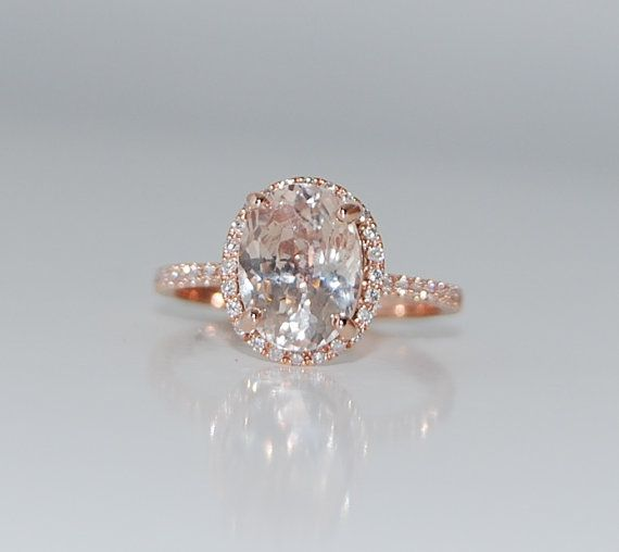 3 5ct Oval champagne peach sapphire diamond ring 14k rose gold engagement rin