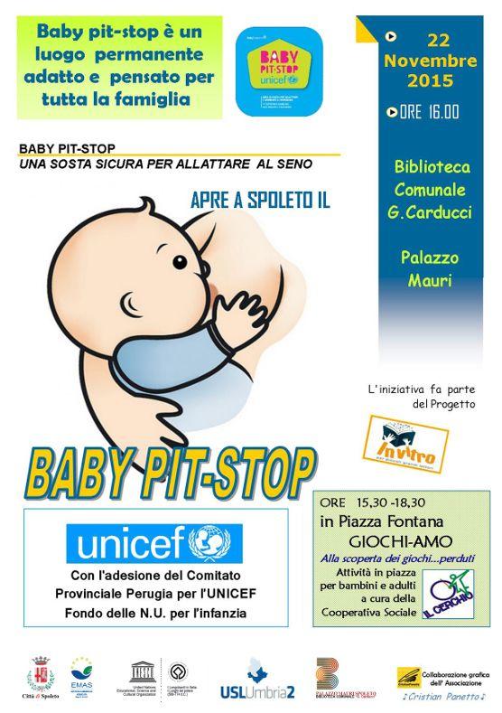 """Il 22 novembre 2015, alle ore 16.00, presso la Biblioteca Comunale """"G.Carducci"""" in Palazzo Mauri di Spoleto (Pg) inaugura il Baby Pit-Stop, il servizio permanente alle mamme e alle famiglie che permettà di allattare in Biblioteca"""