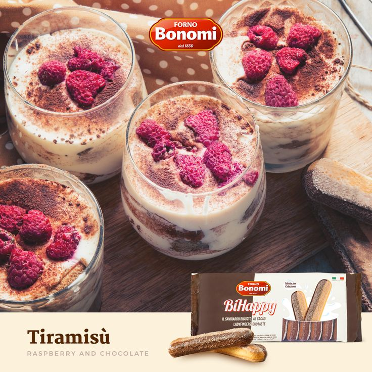 This #Tiramisù is perfect for the winter time, with raspberry, chocolate and of course our BiHappy #Ladyfingers!