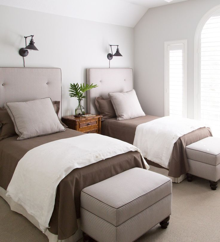 Revealed My Son S Bedroom Is Remodeled Into A Comfy Guest Room Twin Beds Ottomans And Twins