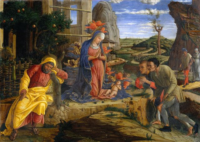 Andrea Mantegna (1431 - 1506) -  The Adoration of the Shepherds c. 1455-1456,  Part of the polyptych of San Zeno of Verona,  Wood transposed onto canvas,  40 cm x 55,6 cm,  The Metropolitan Museum of Art, New York