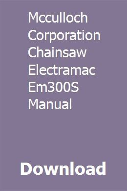 mcculloch chainsaw manuals online
