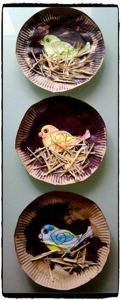 Nid d'oiseau en assiette en carton – #assiette #ca…