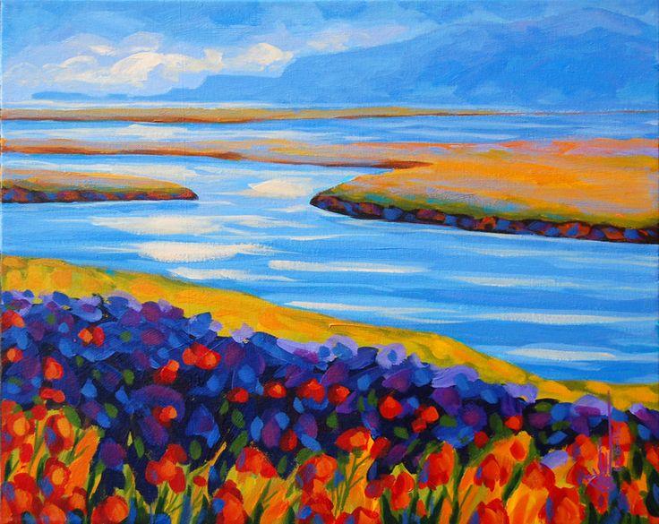 Iris et temps d'orage acrylique sur toile   16 x 20po.  2013