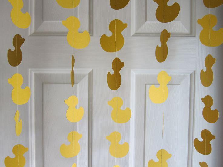 Paper Garland, Duck Garland, Baby Shower Garland, Baby Shower Decorations, Sesame Street Rubber Duckie, Duckling Garland, Waddle It Be. $22.00, via Etsy.