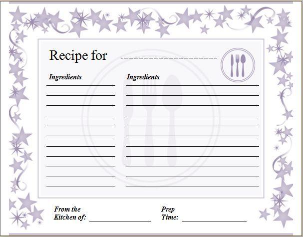 blank recipe card template word