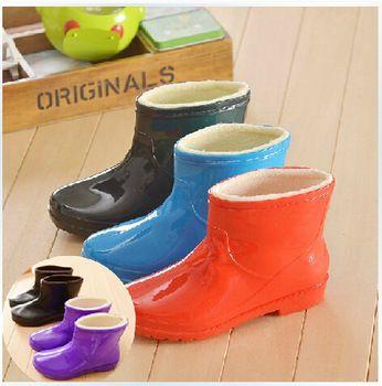 Fashion Lady hiver au chaud Plus de velours courtes bottes de pluie Tube coton Non - dérapant chaussures d'eau caoutchouc bottes cheville bottes de pluie