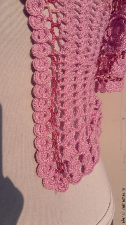 """Купить Жакет """"Июльские розы"""" - розовый, цветочный, летний жакет, ирландское кружево, ручная работа"""