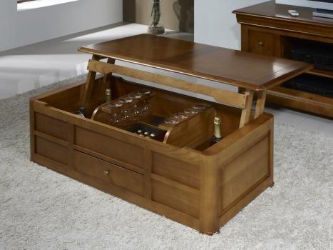 Table Basse Bar ine  en Merisier de style Louis Philippe , meuble en Merisier massif