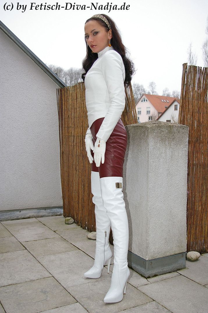 Porn white high boots