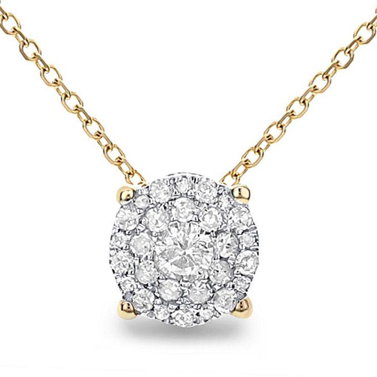 "Diamond Couture 14K Gold .20ctw Diamond Round Design Slide Pendant with 18"" Chain - Yellow"