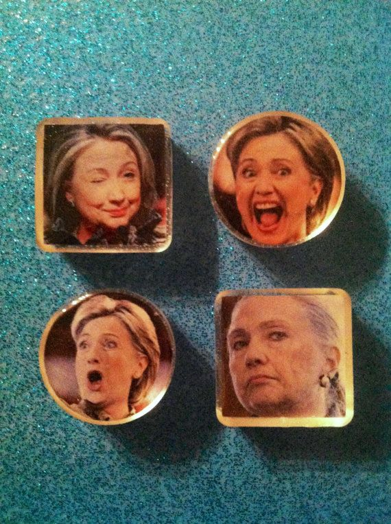 Hillary Clinton may be the most expressive politician ever, and we love it!! In this four set of resin magnets weve tried to capture a few of