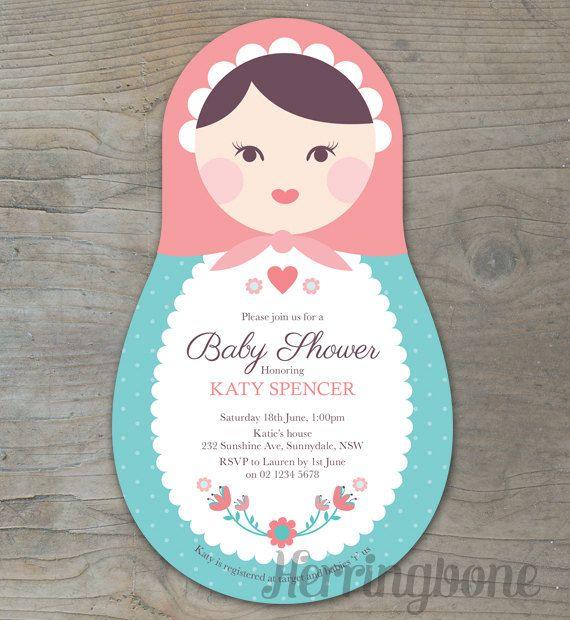 Babushka Doll Baby Shower Invitation by HerringboneDesign on Etsy