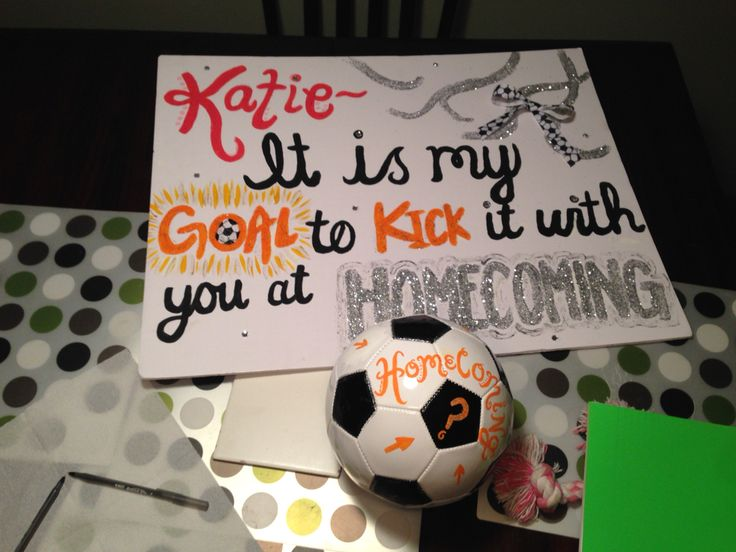 I painted this poster and soccer ball for a friend to ask a girl to a dance!