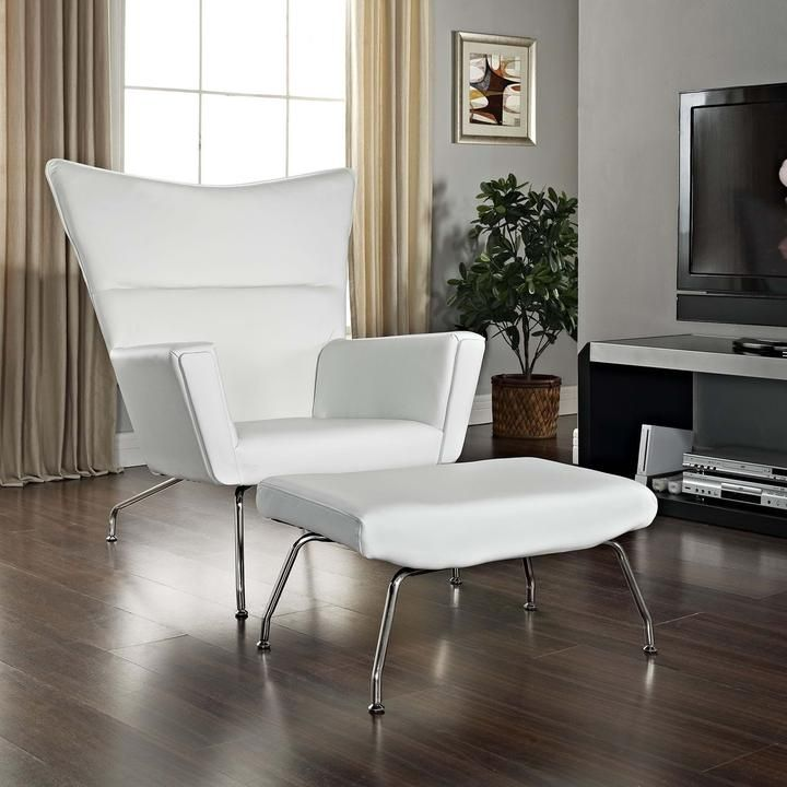 First Class Leather Chair  Ottoman White 76 best Modern Lounge Chairs Chaises images on Pinterest