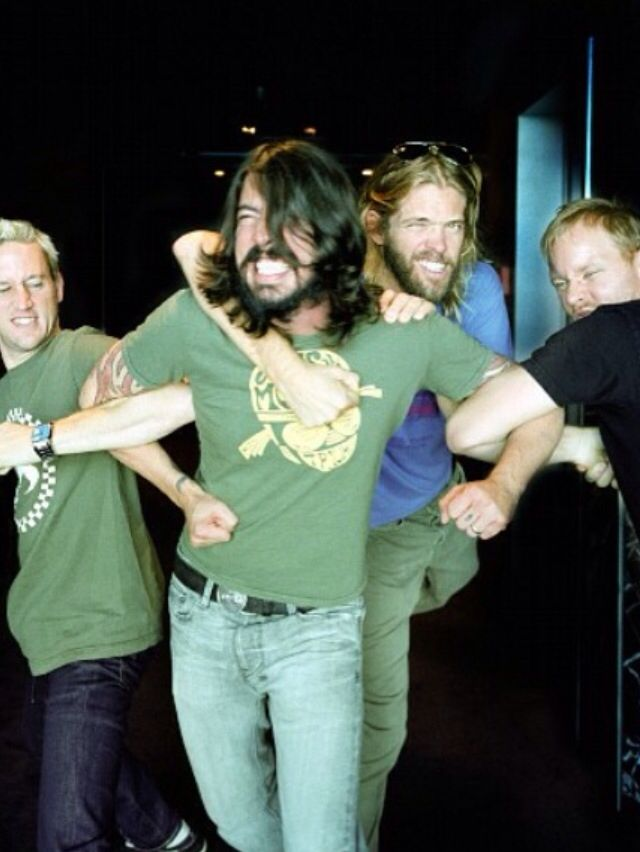 Foo'ling fooling playing around Dave Grohl Foo Fighters Foo Fighters - Dave Grohl, Nate Mendel, Taylor Hawkins, and Chris Shiflett. February 2015