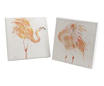 Set van 2 prints op doek Flamingo, koraal/wit, 30 x 30 cm