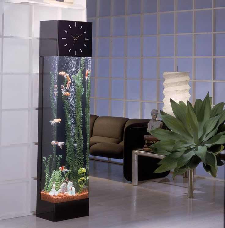 Midwest Tropical Rectangle Clock AquaTower - 30 Gallon Freshwater Acrylic Aquarium (RT-3000-Clock) #21-30-Gallons #AquaTower #Freshwater