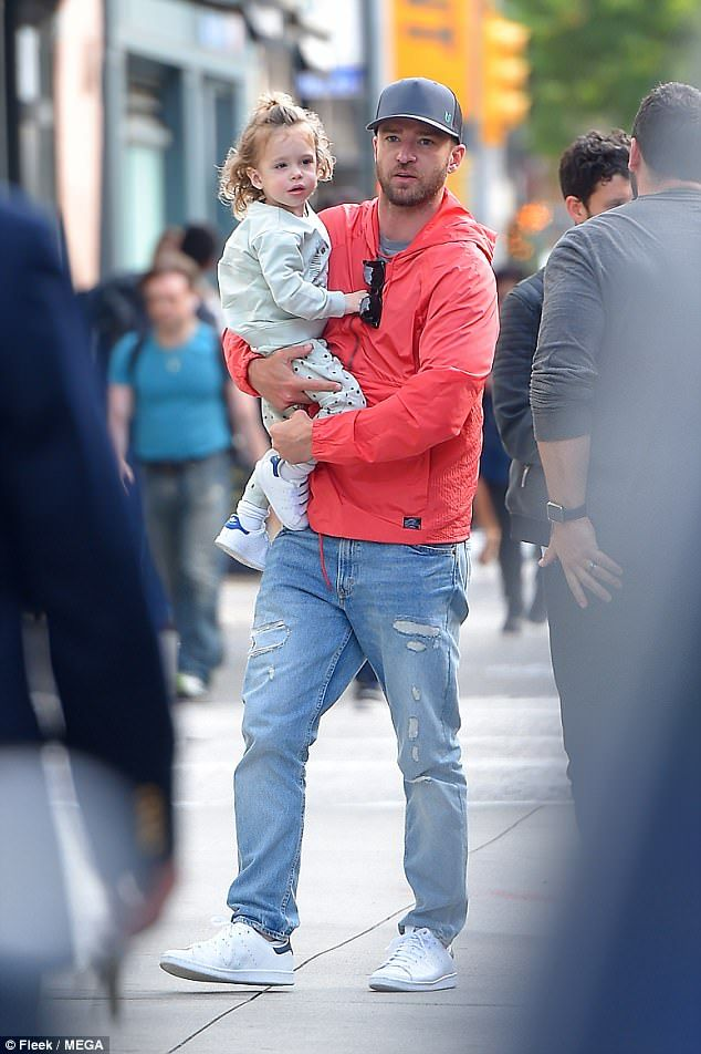 Daddy daycare:Justin Timberlake hit the streets of New York with son Silas on Thursday...