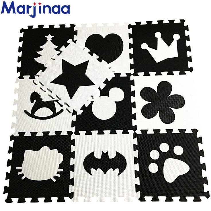 "Marjinaa EVA New 10pcs 11.8""*11.8"" Puzzle Floor GYM Soft Kids Foam Mat Black White baby play puzzle number letter cartoon foam"