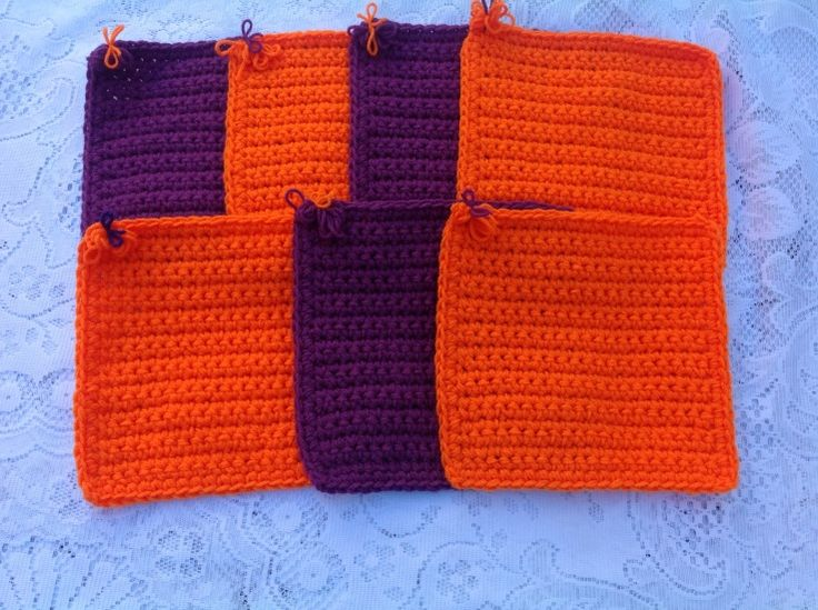 Oranges and purples - Christine C. To learn more about our organization go to www.knit-a-square.com  To meet our members and see more of our knitting and crochet go to http://forum.knit-a-square.com/